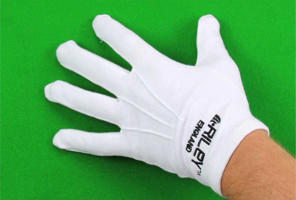 RILEY - Guantes de billar (talla M), color blanco bce/riley