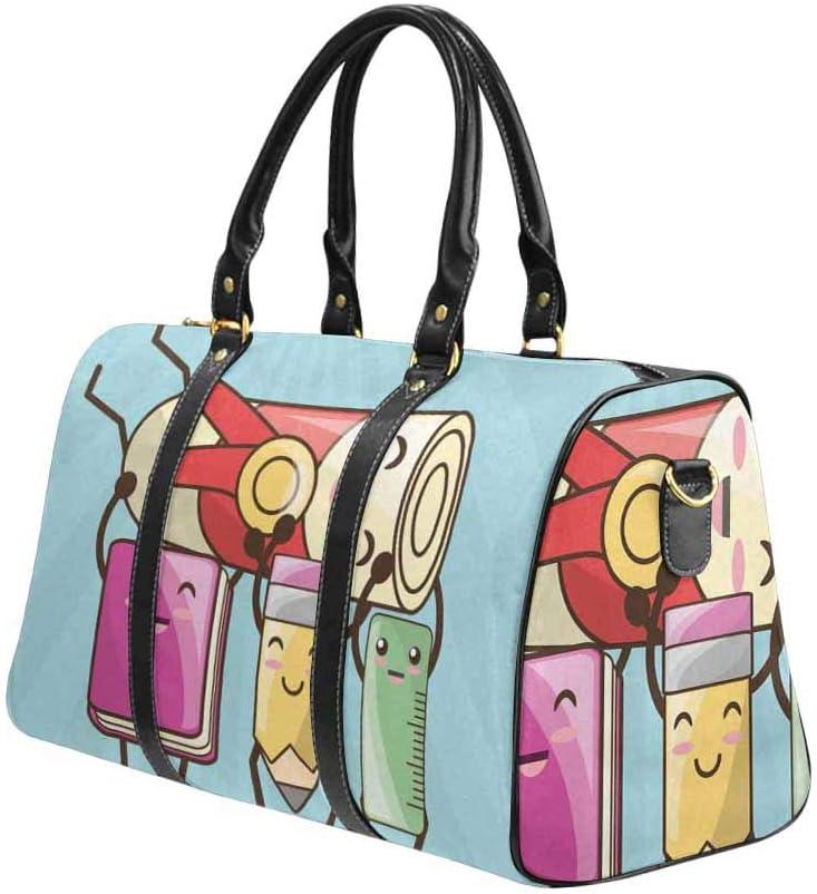 InterestPrint Kawaii Icons School Tools to Study Education Waterproof Travel Bag Sports Duffel Tote Overnight Bag
