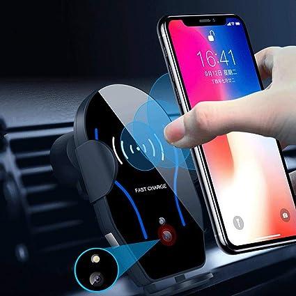 FOONEE Sensor infrarrojo de 10 W, cargador inalámbrico para coche, soporte para teléfono móvil, sujeción automática, cargador de inducción, para ...