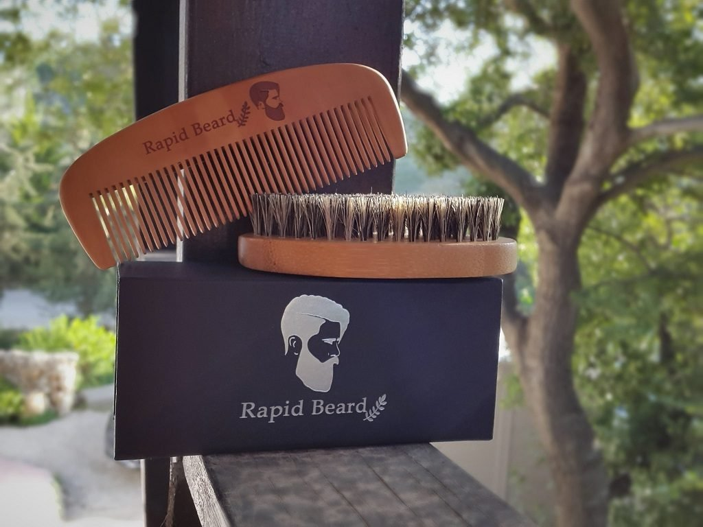 Beard Brush and Beard Comb kit for Men Grooming, Styling & Shaping - Handmade Wooden Comb and Natural Boar Bristle Beard Brush Gift set for Men Beard & Mustache Care by Rapid Beard by Rapid Beard (Image #8)