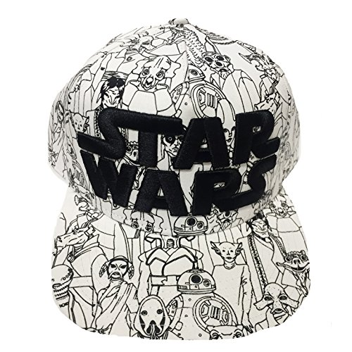 Mens Star Wars Character All Over Baseball Cap - White One Size