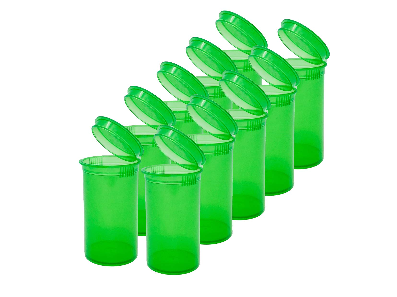 19 DRAM POP TOP Bottles Qty CASE Size Count Squeeze top Rx Pill Bottles Prescription Crafts Coins Storage Medicine 420 Containers Made in USA (900 PCS, Green - Transparent)