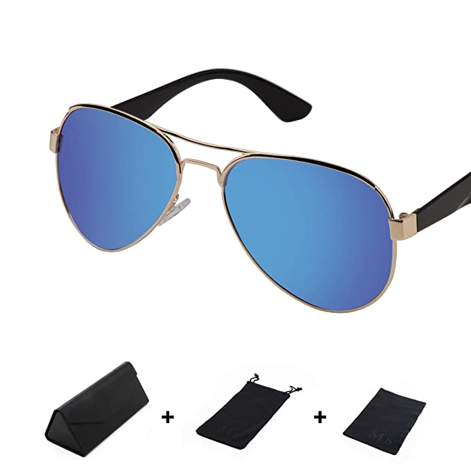 91e3c756f3bd MS Polarizer Aviator Sunglasses for Mens Womens Mirrored Sun Glasses Shades  with Uv400 (Ice blue