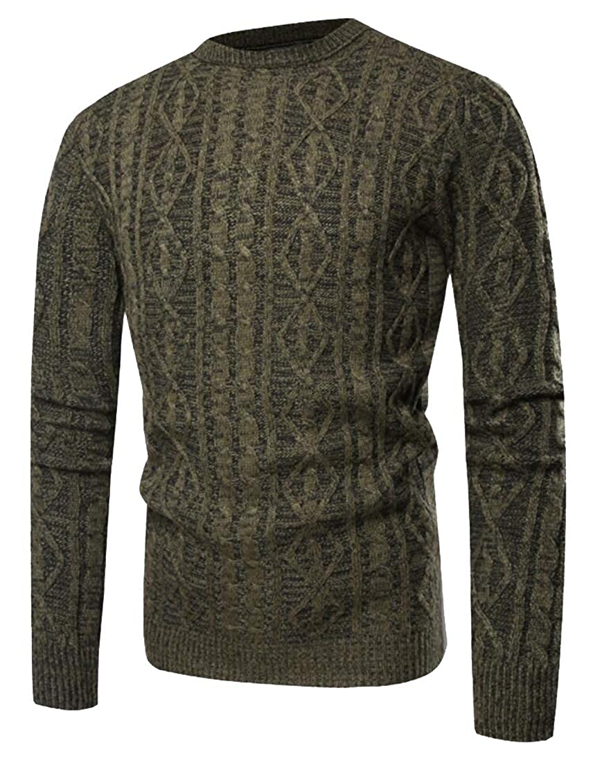 Yayu Mens Classic Long Sleeve Cable Knit Crewneck Textured Sweater Top