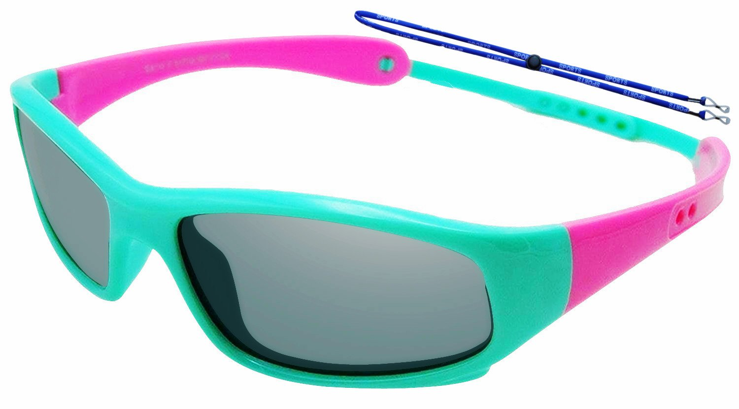 COOLSOME Flexible Rubber Kids Polarized UV Protection Sunglasses for Boys Girls 2-7 Years Old (Pink Green)
