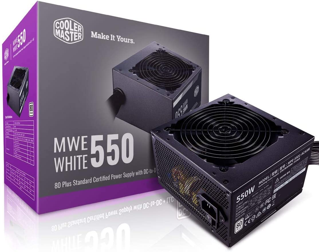 Cooler Master MWE 550 White 550W 80+ White PSU w/Hydro-Dynamic-Bearing Silent 120mm Fan, Single +12V Rail, Flat Black Cables (MPE-5501-ACAAW-US)
