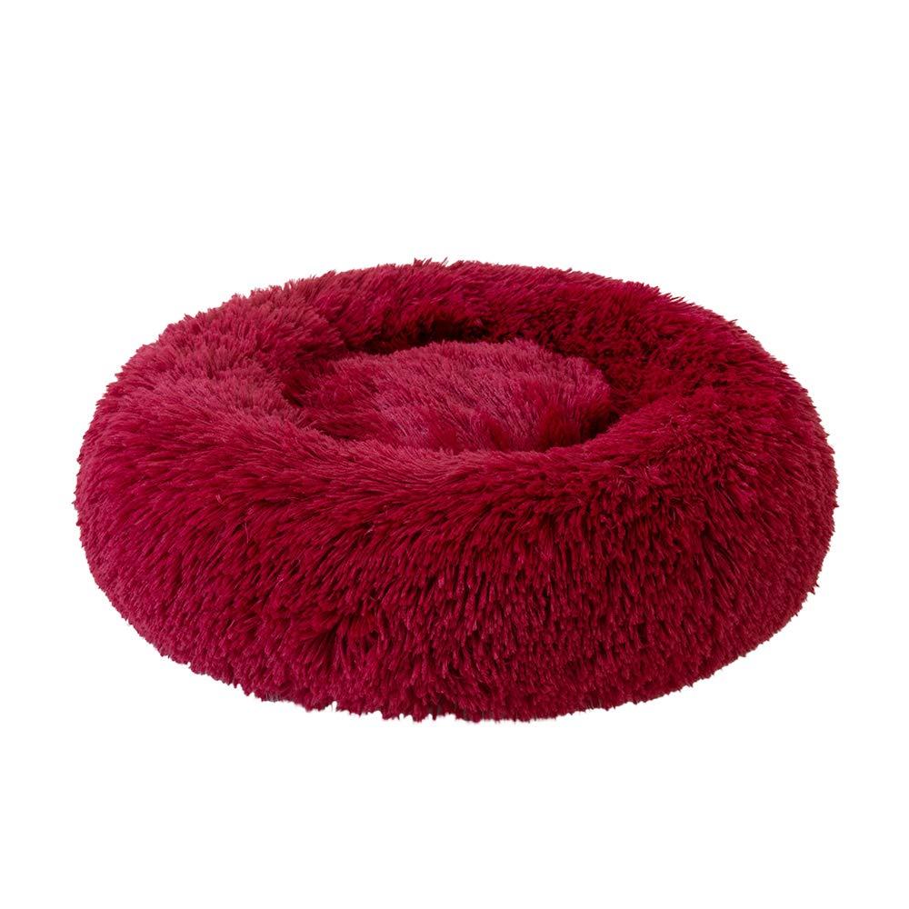 Decdeal Cama de Gato Donut Cama de Mascotas Perros Redonda C/ómodo Suave Corto Nido de Donut con una Bola de Sisal para Animales Dom/ésticos Cachorros para Dormir Descansar Invierno