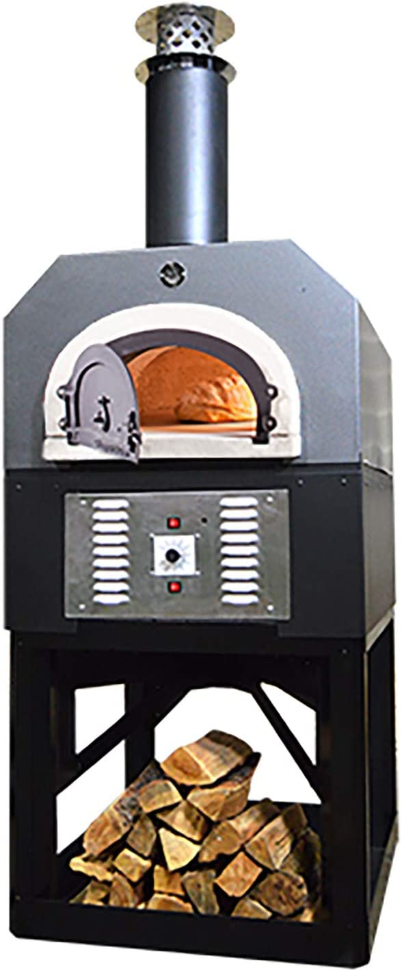 Chicago Brick Oven Natural Gas & Wood-Burning Residential Outdoor Pizza Oven, CBO-750 Hybrid Stand with Silver Vein Hood