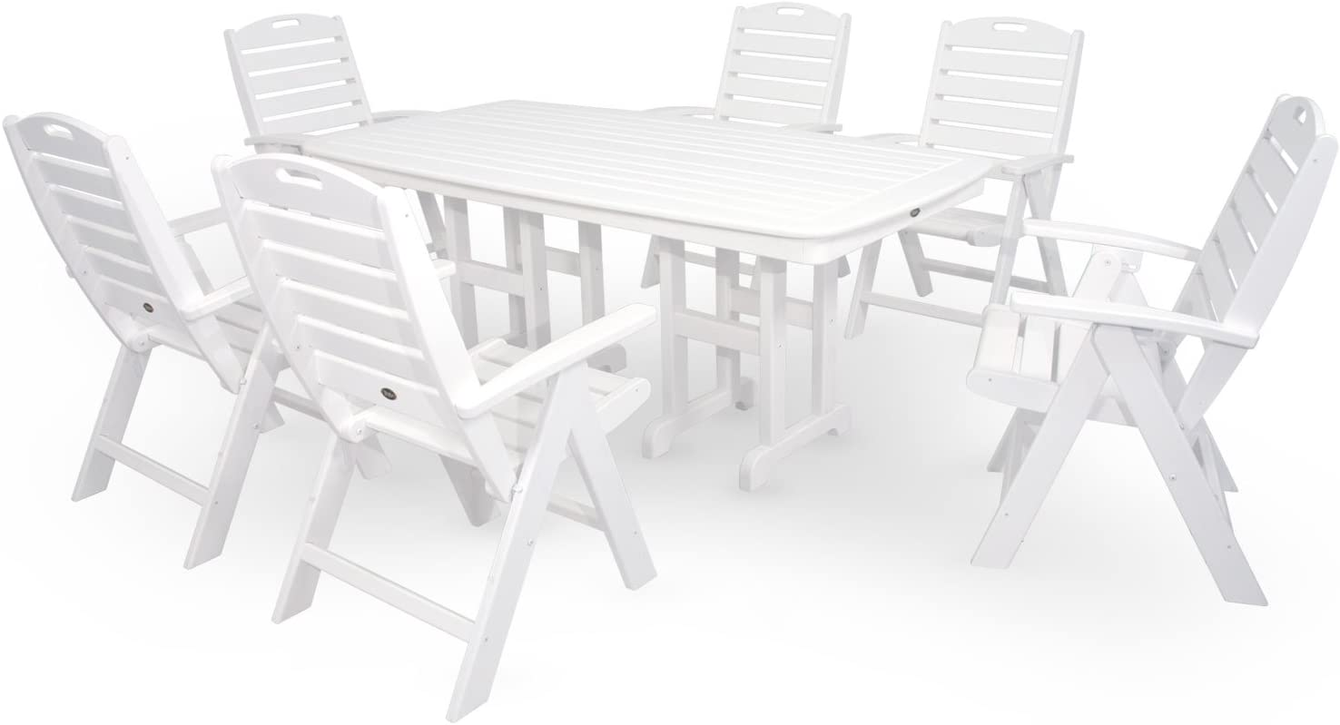 Trex Outdoor Furniture by Polywood 7-Piece Yacht Club Highback Dining Set, Classic White