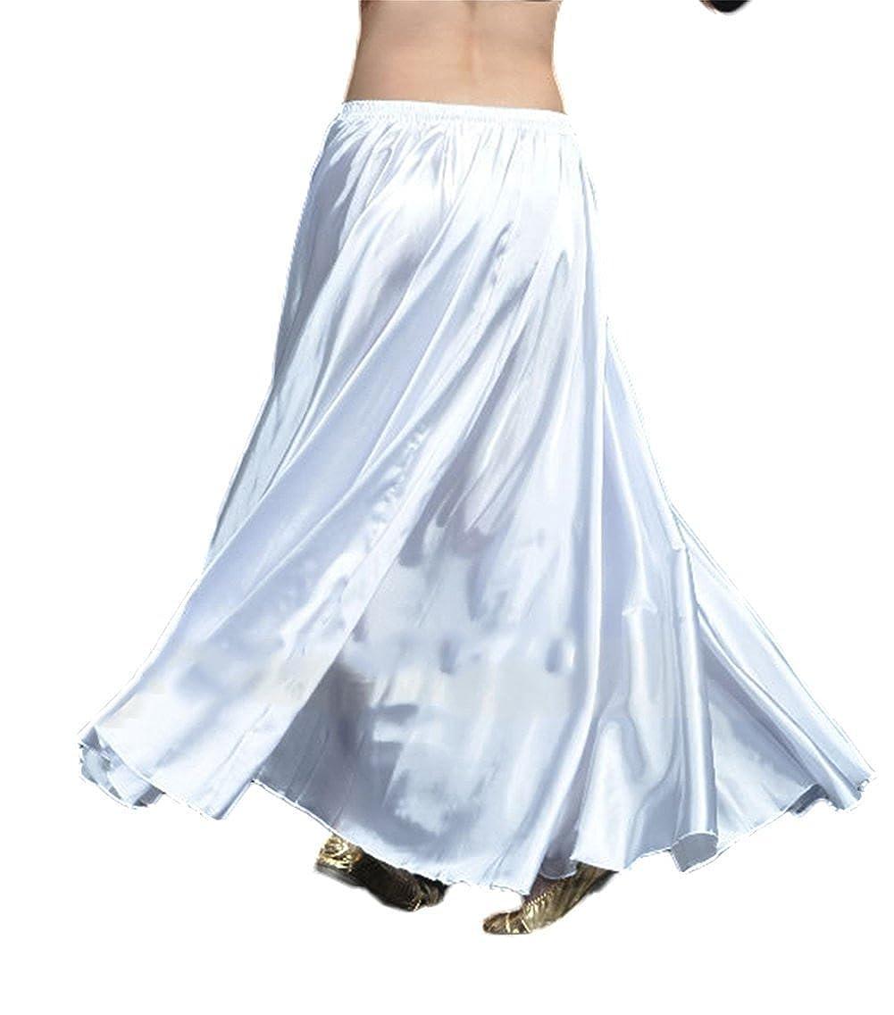 AvaCostume Womens Satin Long Swing Maxi Flowing Skirt,