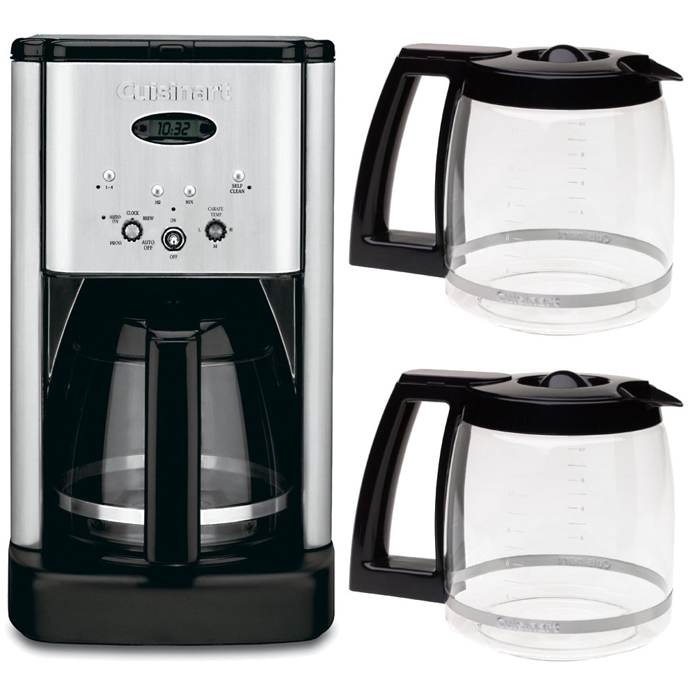 Cuisinart DCC-1200 Brew Central 12 Cup Programmable Coffeemaker + Two Bonus Carafes Bundle Includes: DCC-1200 Brew Central 12 Cup Programmable Coffeemaker (Silver), and Two (2) Cuisinart 12 Cup Replacement Carafes - (Black)
