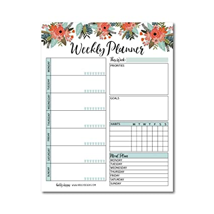 amazon com floral undated weekly family calendar planner pad mom