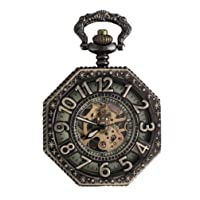 Pocket Watch with Chain-Personalized Retro Watch Mechanical Pocket Watch Hollow Watch for Christmas Gifts-Color Bronze