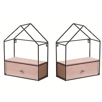 Creativo cajón de hierro forjado de madera maciza triángulo para colgar en la pared