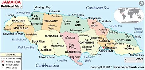 Amazoncom Jamaica Political Map 36 W x 1747 H Office Products