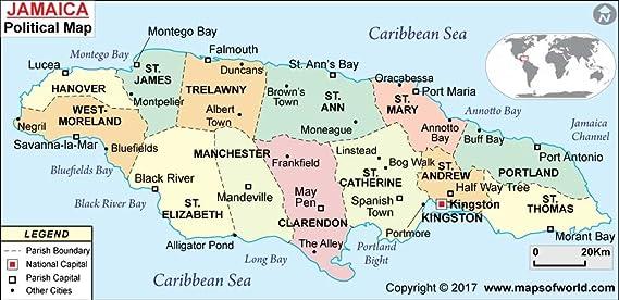 Amazon.com : Jamaica Political Map (36\