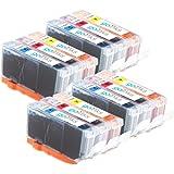 Go Inks C-526CMY-SET-4 Pack de 12 Cartouches d'encre compatible avec Imprimante Canon Pixma Tricolor (Jaune, Magenta, Cyan)