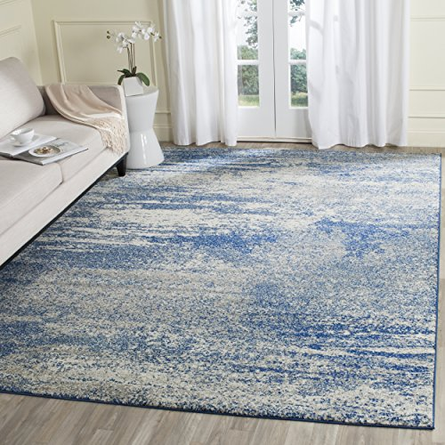 Safavieh Evoke Collection EVK272A Distressed Modern Abstract Navy Ivory Area Rug (8' x 10')