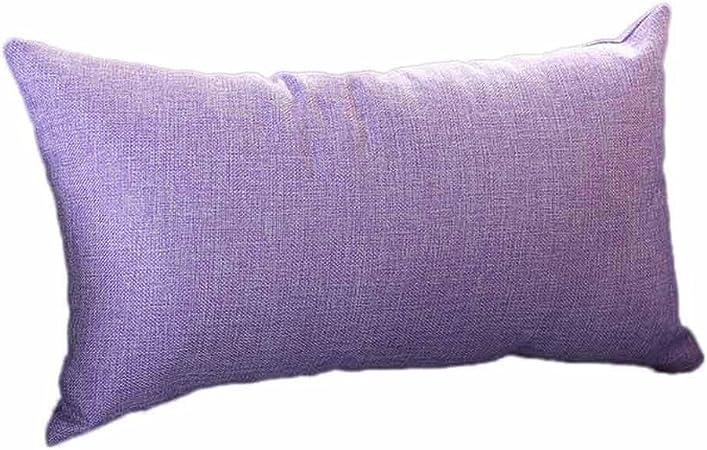 VJGOAL Casual Color sólido Suave Lino algodón Funda de Almohada Rectángulo extraíble y Lavable Cojín 30cm * 50cm(30_x_50_cm,Púrpura): Amazon.es: Hogar