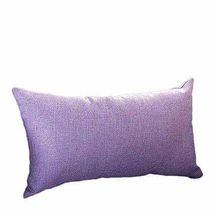 VJGOAL Casual Color sólido Suave Lino algodón Funda de Almohada Rectángulo extraíble y Lavable Cojín 30cm * 50cm(30_x_50_cm,Melon Rojo)