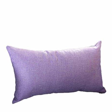 VJGOAL Casual Color sólido Suave Lino algodón Funda de Almohada Rectángulo extraíble y Lavable Cojín 30cm * 50cm(30_x_50_cm,Púrpura)