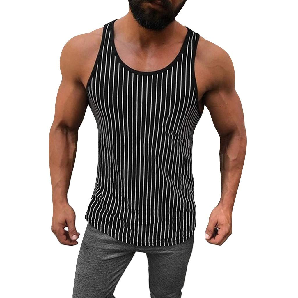 NUWFOR Men Fitness Muscle Striped Print Sleeveless Bodybuilding Tight-Drying Vest Tops(Black,M US Bust:38.5'')