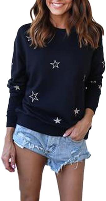 Anaisy La Mujer Sudaderas Camisetas De Manga Larga Estampadas Estrellas Blusa Tops Camisa Joven Bastante Deportivas Sin Capucha Elegantes Cuello Redondo Otoño Negro Casual Pullover T-Shirt Dama Women: Amazon.es: Ropa y accesorios
