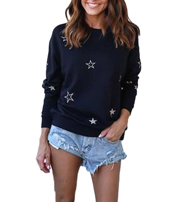 Damen Sweatshirts Schwarz Basic T Shirt Elegant Langarm Rundhals Perfect  Pin-up Bestickt Star-Muster Casual Locker Bluse Tops Herbst Winter Young  Fashion ... b5e67bc2d8