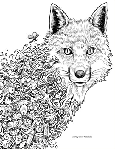 Coloring Cover Sketchbook Abstract Wolf Sketchbook For