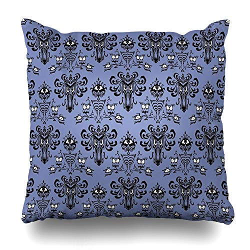 Ahawoso Throw Pillow Covers Eerie Eyes Haunted Mansion Style Pillowslip Square Size 16 x 16 Inches Cushion Cases Pillowcases
