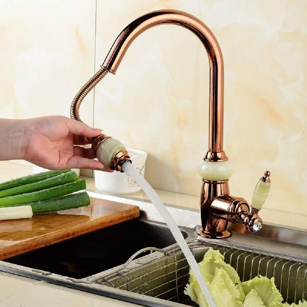Kitchen Faucet Vintage Brass Faucet Natural Jade Faucet All Copper Extendable Gold Faucet Kitchen Single Face Pot Cold And Hot Water Tap Kitchen Sink Faucets Basin Mixer Faucet