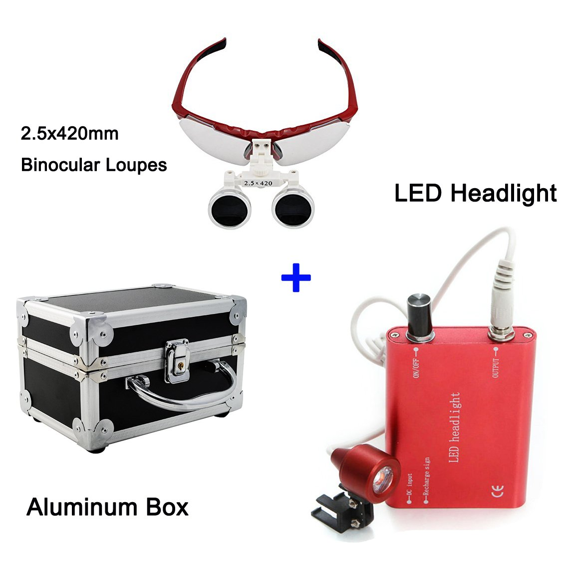 Zinnor 2.5 X 420mm Dental Surgical Medical Binocular Loupes Optical Glass Loupe + LED Head Light Lamp(Red) + Aluminum Box(Black)