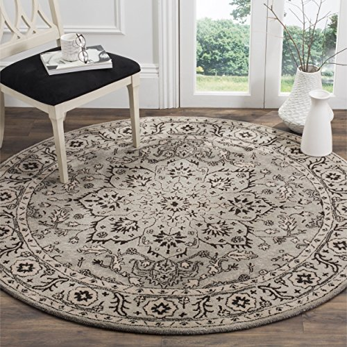 Safavieh Antiquities Collection AT58A Oriental Persian Floral Medallion Grey and Beige Premium Wool Round Area Rug (6' Diameter) ()