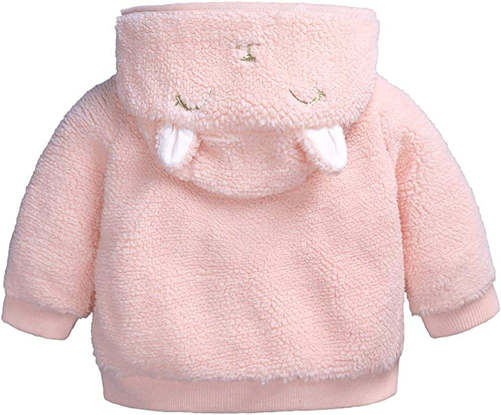 Newborn Infant Baby Boys Girls Fleece Hooded Jacket Coat Ears Outwear Zipper Up