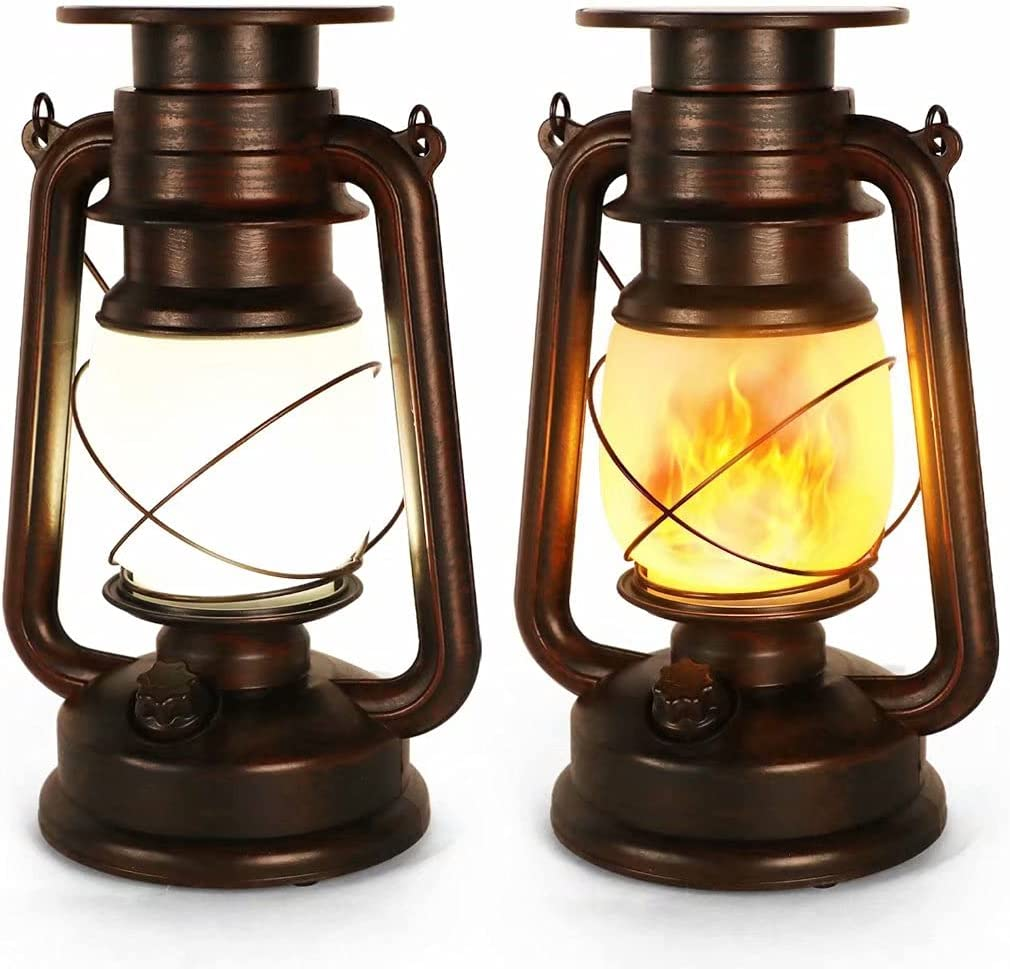 Upraded Led Vintage Solar Lantern, Realistic Flicker Flame Outdoor Hanging Lantern Solar Powered Camping Night Lights Landscape Decorative for Garden Patio Deck Yard Path 2 Pack, Copper