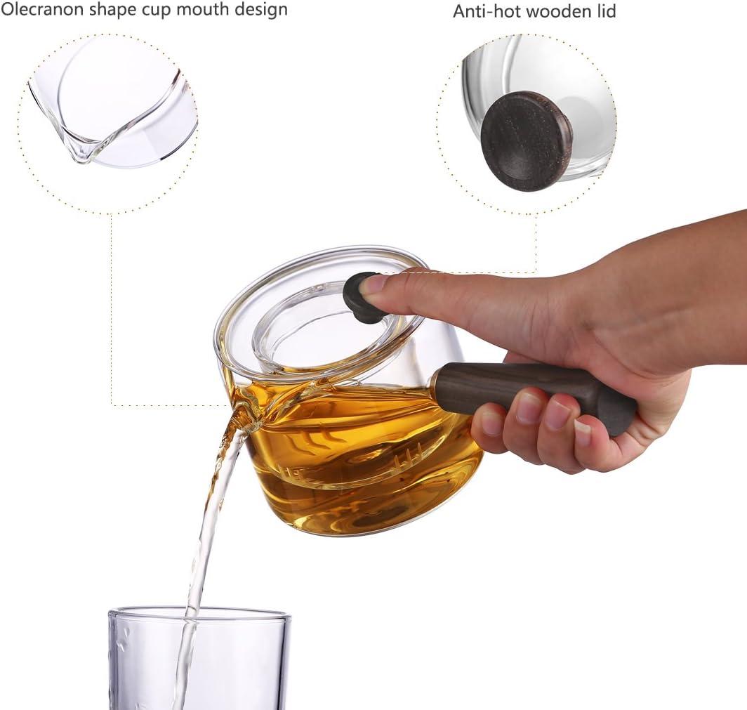mini th/éi/ère /à th/é et /à caf/é Oneisall GYBL458 Th/éi/ère en verre avec poign/ée en bois th/éi/ère durable avec filtre en verre pour la maison et le bureau 400 ml