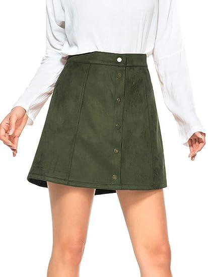 PERSUN Mini Falda de Cintura Alta de Ante sintético con Botones en ...
