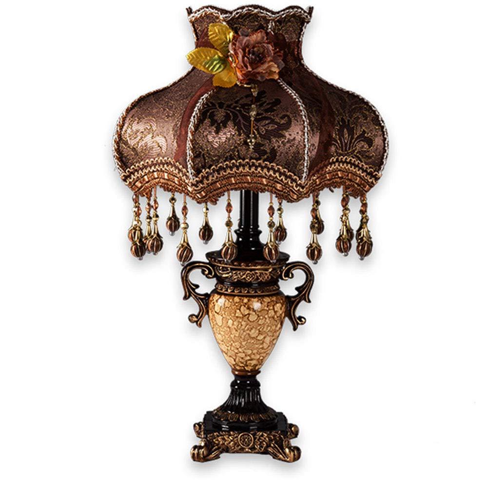 Nachttischlampener Yhz@ Gehobene Europäische Tischlampe Schlafzimmer Luxus Atmosphäre Wohnzimmer Stoff Tischlampe Retro American warmes Licht 22 Zoll Bronze