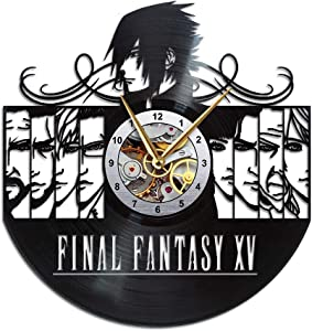 AroundTheTime Final Fantasy XV Clock, FFXV Gift Decor, Final Fantasy 15 Vinyl Record Wall Clock