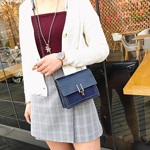 LtrottedJ Women Girl Fashion Patchwork Flap Bag Crossbody Bag,Ladies Mini Shoulder Bag (Blue)