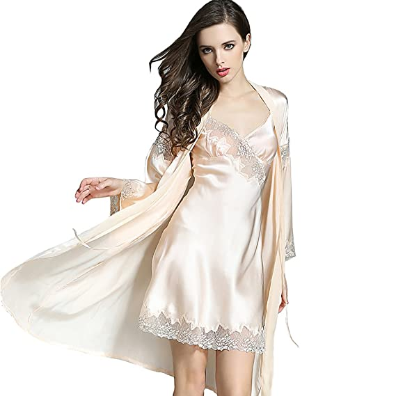 af64d46164 LSHARON Women s Sexy 100% Mulberry Silk Lace Pyjamas Sling Nightdress and Dressing  Gown Set 19