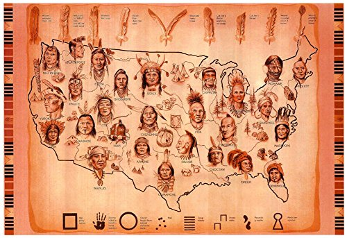 Laminated Native American Tribes Map Art Print Poster