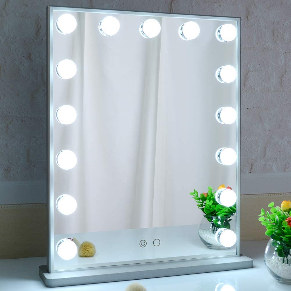 Silver Frameless Sleek Tabletop Makeup Mirror 18x23inch 3 Light Modes USB Charging Port Showtime Hollywood Vanity Mirror with Bright Lights 15 Dimmable LED Bulbs
