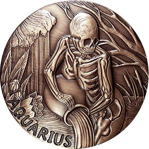 2015 United States Skullcoins AQUARIUS Memento Mori Zodiac Skull Horoscope Copper Coin 2015 Antique Finish