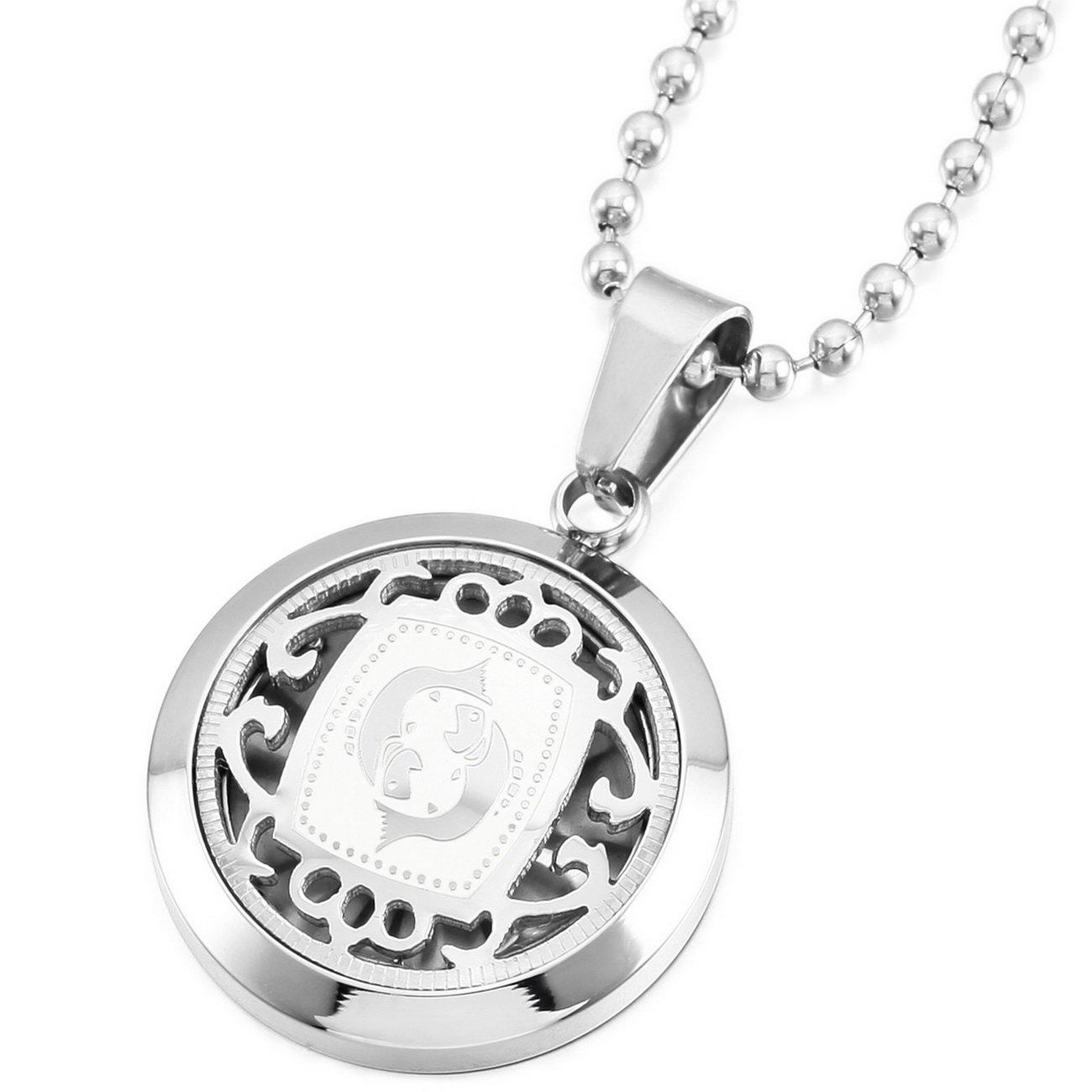 MeMeDIY Silber Ton Edelstahl Anhänger Halskette Horoskop Tierkreis Sternzeichen,mit 58cm Kette Gravur de3030203-08