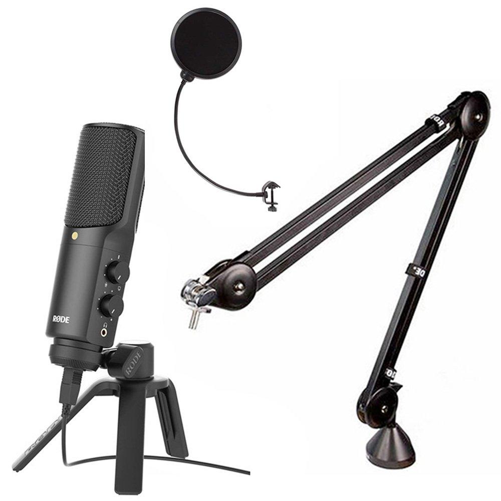 Rode NT-USB Podcast condenser Mic w/Rode PSA1 Studio Boom Arm & Mic Pop Filter