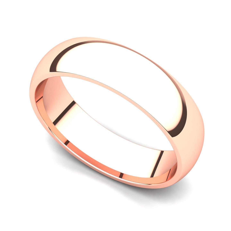14k Rose Gold 5mm Classic Plain Comfort Fit Wedding Band Ring, 4