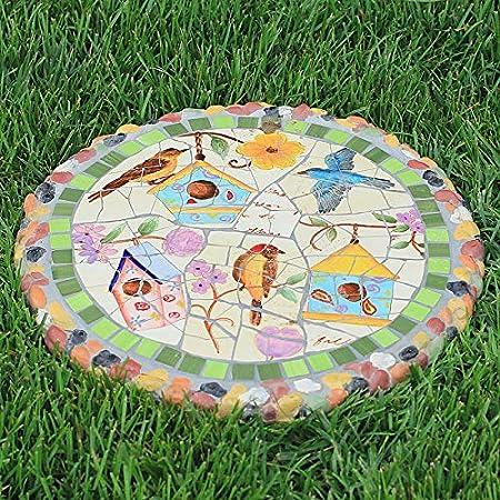 Jardín Mosaico Trampolín,Bienvenido A The Garden Pisando Ladrillos,Al Aire Libre Jardín Bistro Decoración De Café Patio C 37x37x3cm(14.6x14.6x1.2inch): Amazon.es: Hogar