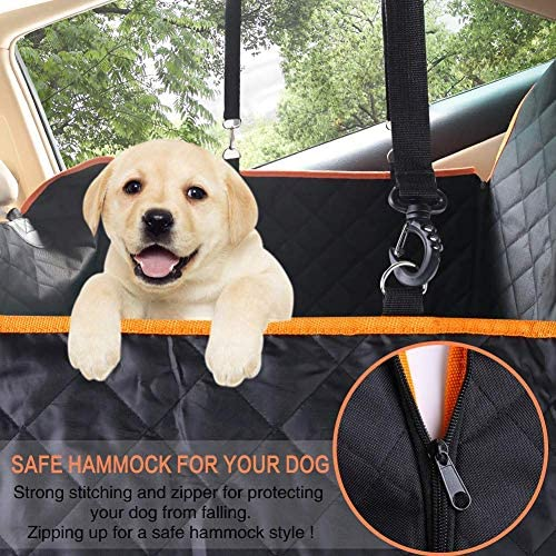 CLEEBOURG Dog Seat Cover for Back Seat, Waterproof Dog Hammock Scratchproof Pet Seat Covers with 4 Bags Side Flaps 2 Dog Seat Belts, Washable Nonslip Seat Protector for Cars Trucks and SUVs