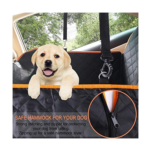 CLEEBOURG Dog Car Seat Cover Durable Scratchproof Waterproof Car Back Seat Cover for Dogs with Seat Anchors and 2 Dog Seat Belts, Dog Car Hammock for Different Cars 2
